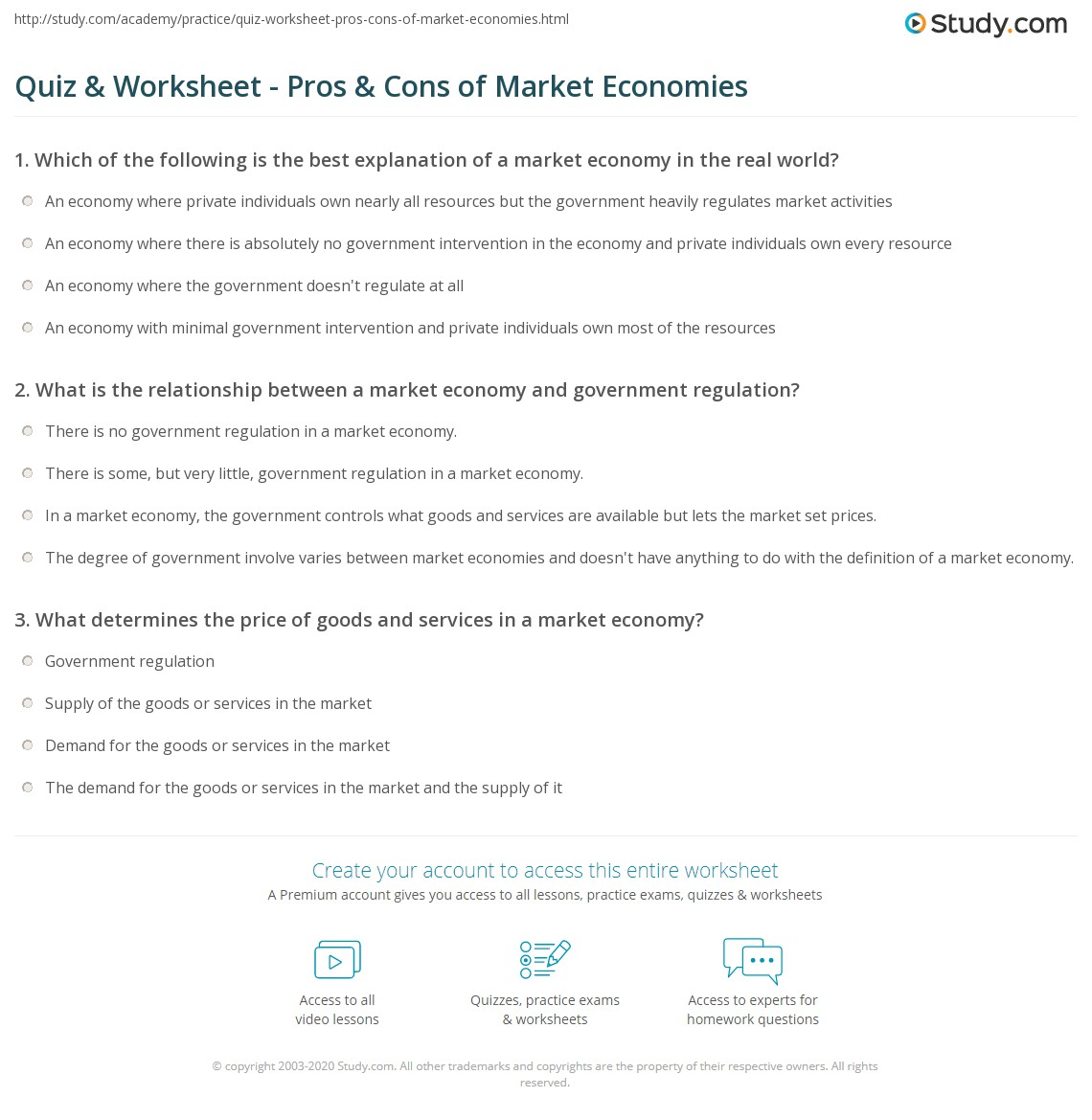 quiz & worksheet - pros & cons of market economies | study