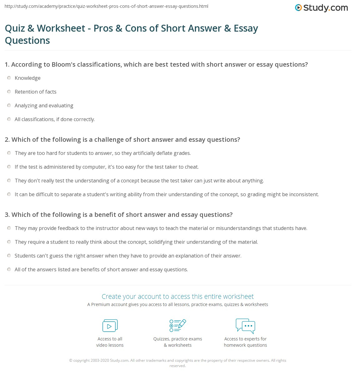 quiz worksheet pros cons of short answer essay questions print strengths limitations of short answer essay questions worksheet