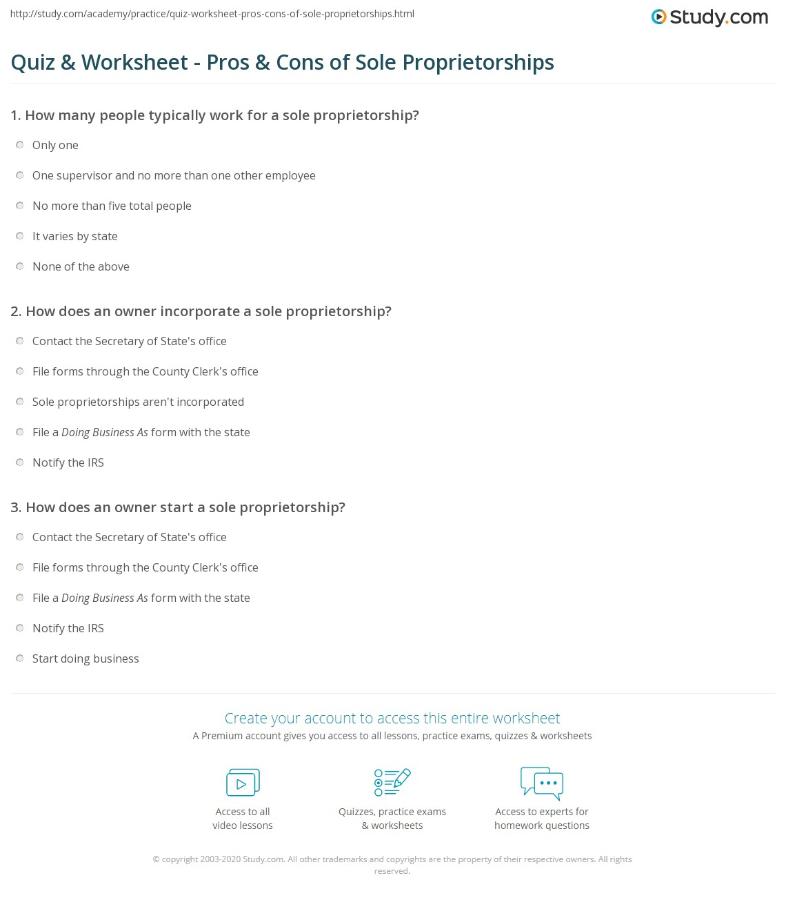 quiz & worksheet - pros & cons of sole proprietorships | study