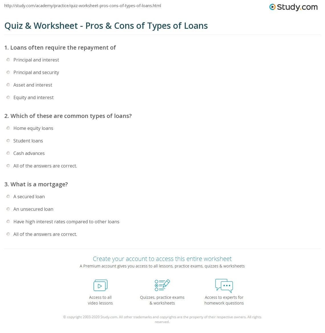 quiz & worksheet - pros & cons of types of loans | study