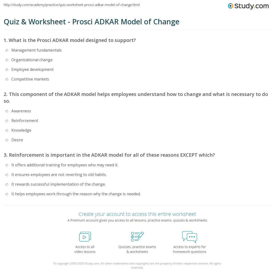 Quiz worksheet prosci adkar model of change study print the prosci adkar model of change definition process worksheet 1betcityfo Images