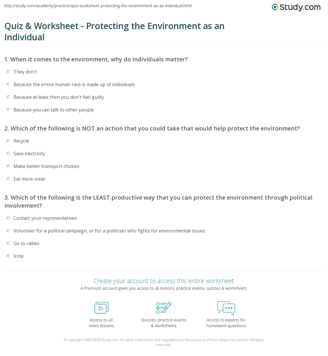 Quiz & Worksheet - Protecting the Environment as an