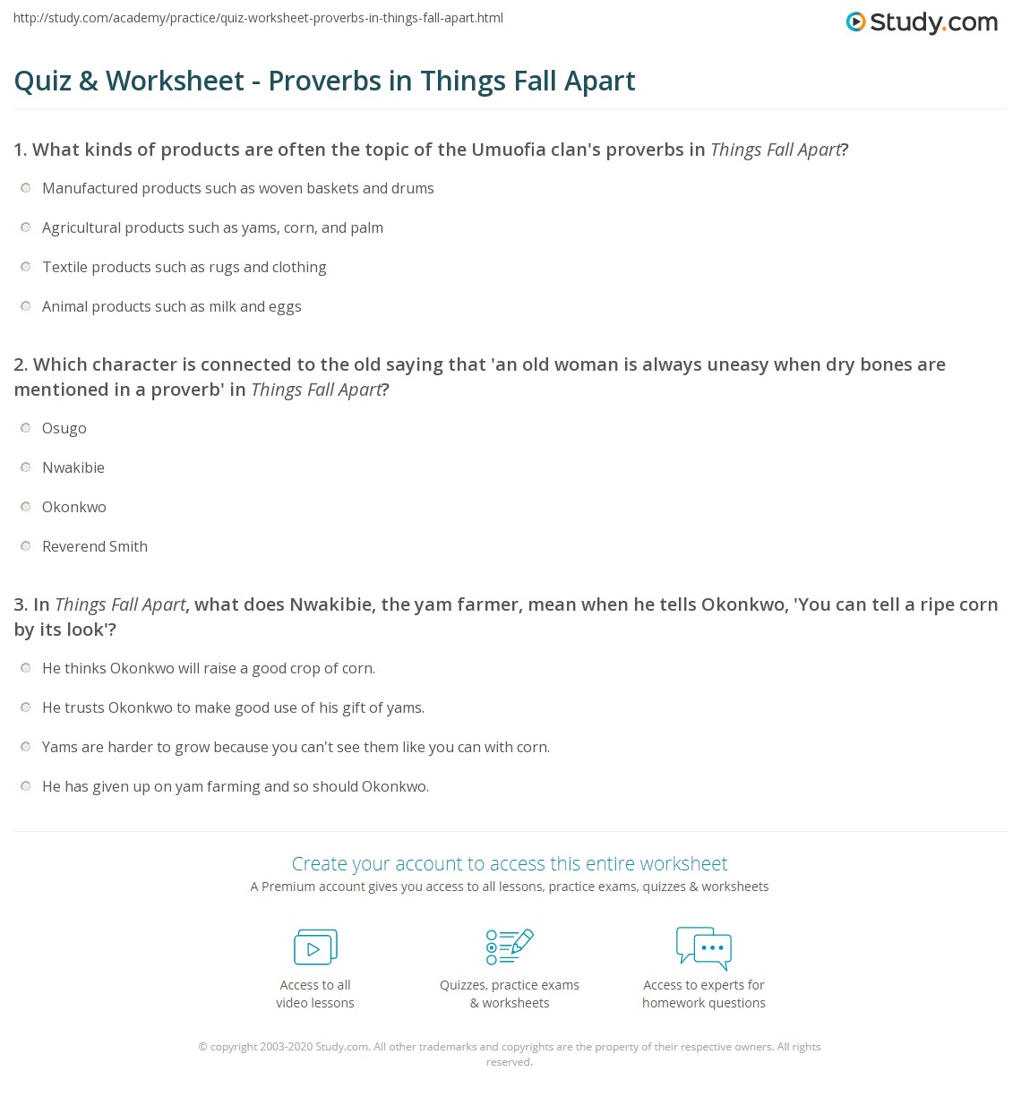 quiz worksheet proverbs in things fall apart. Black Bedroom Furniture Sets. Home Design Ideas