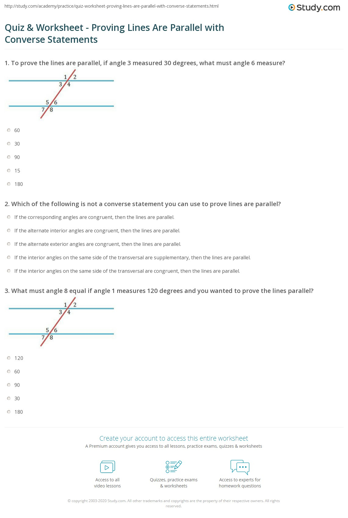 Quiz Worksheet Proving Lines Are Parallel with Converse – Proving Lines Parallel Worksheet