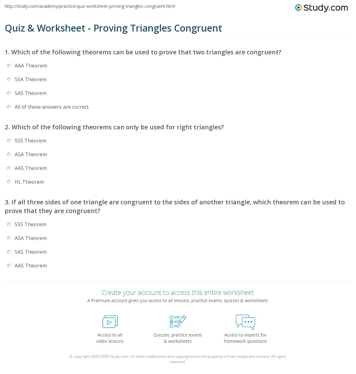 Quiz Worksheet Proving Triangles Congruent Study Com