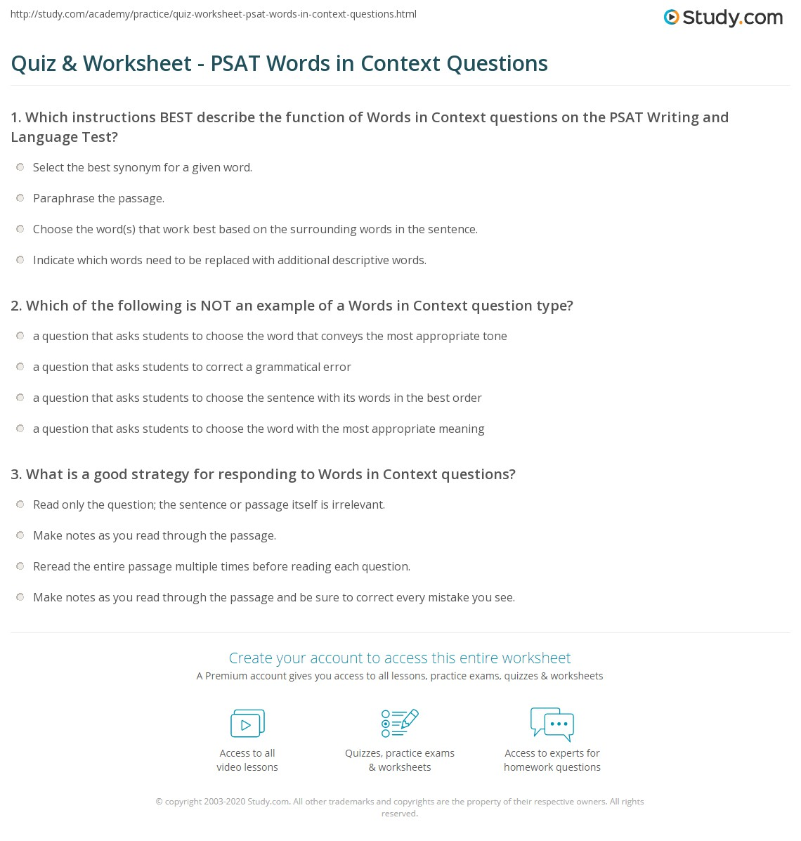 worksheet Words In Context Worksheets quiz worksheet psat words in context questions study com print writing language test worksheet