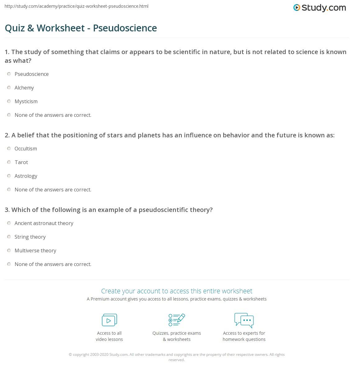 Quiz & Worksheet - Pseudoscience | Study.com