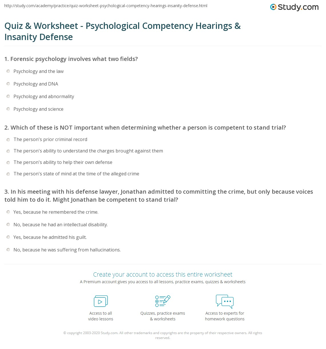 Quiz Worksheet Psychological Competency Hearings Insanity