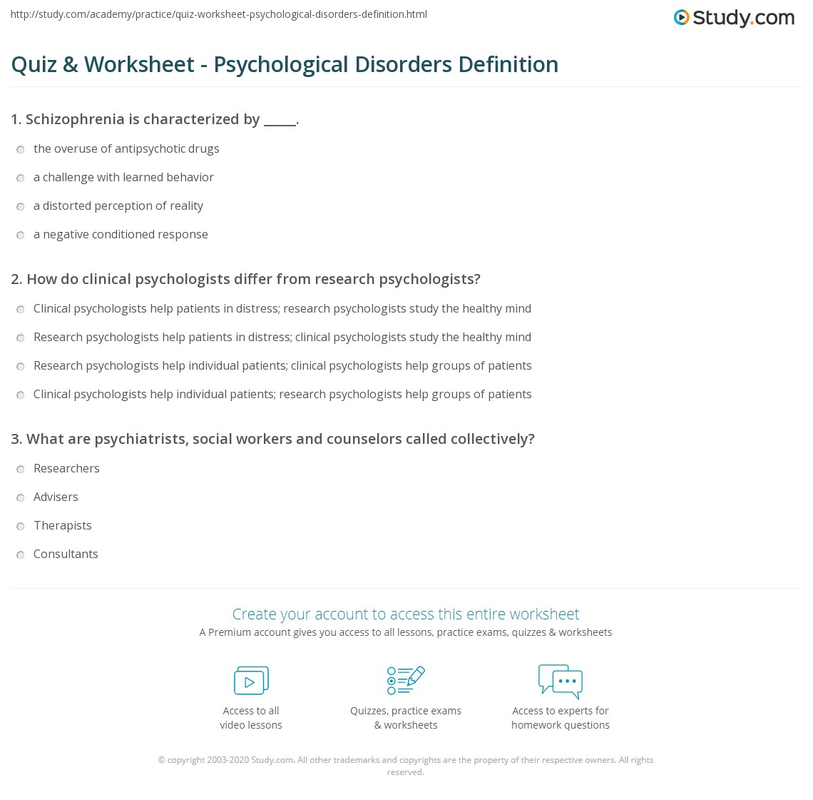 quiz & worksheet - psychological disorders definition | study