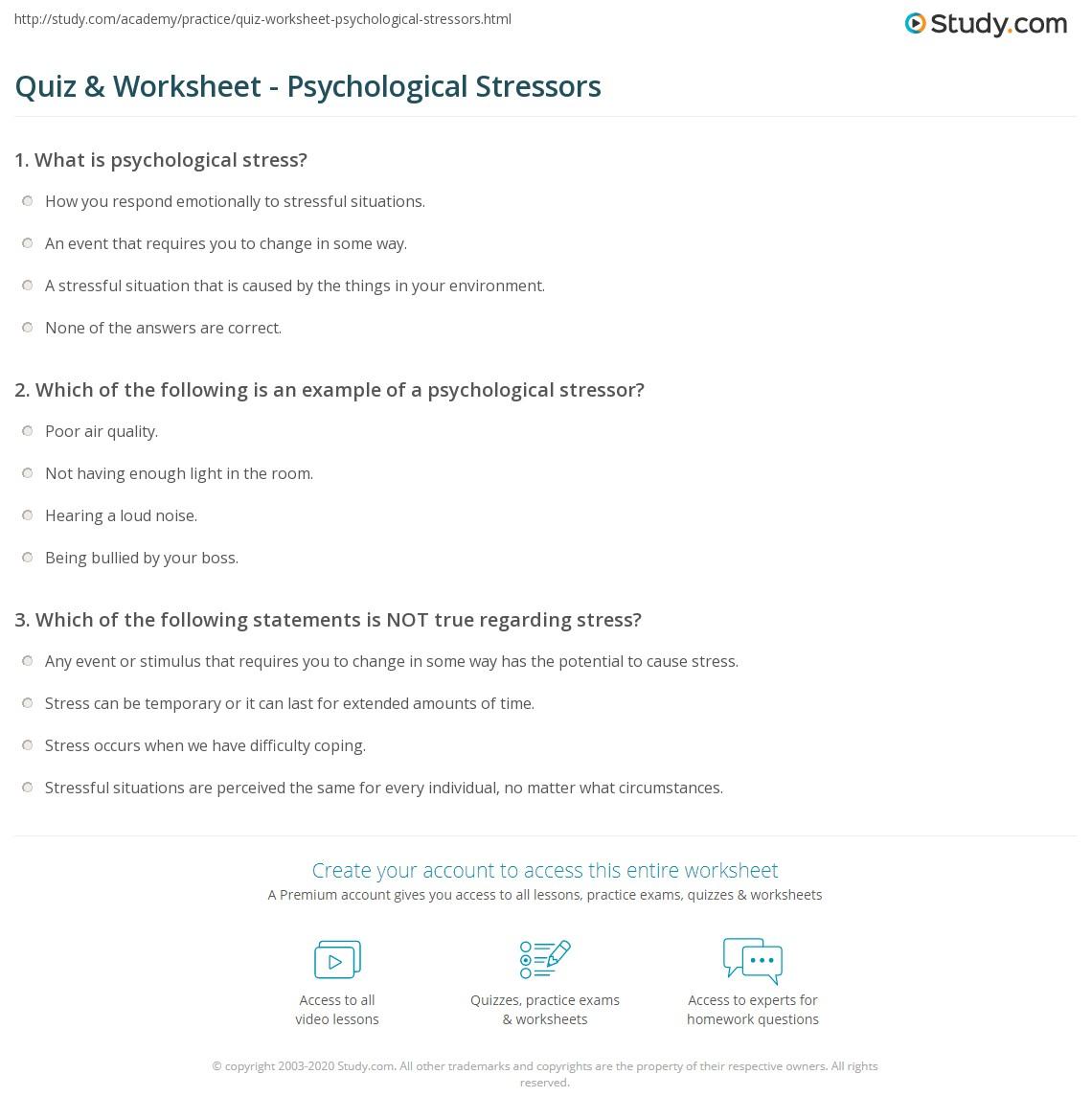 worksheet Stress Worksheets For Middle School quiz worksheet psychological stressors study com print what is a stressor definition examples worksheet