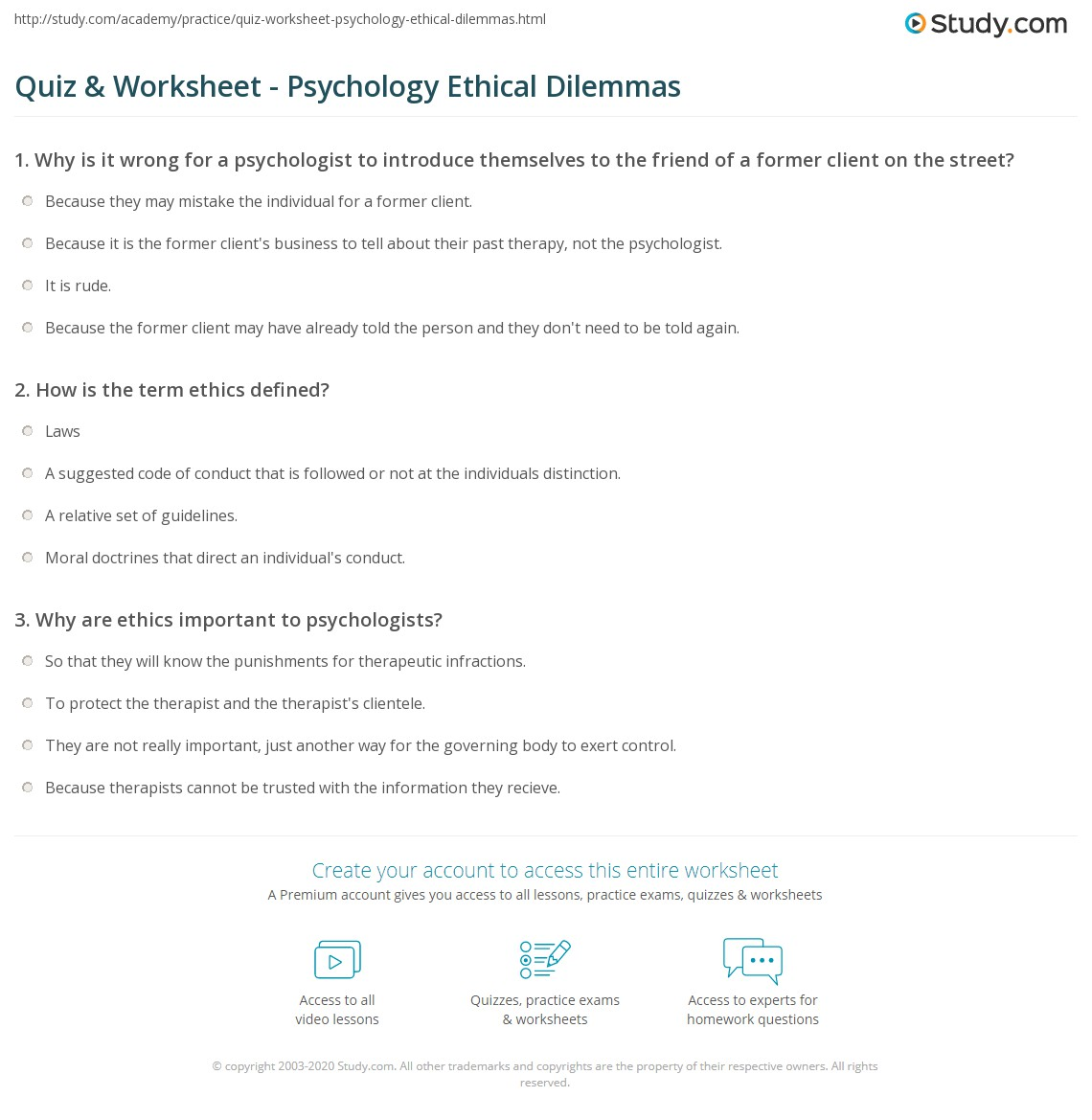 quiz & worksheet - psychology ethical dilemmas | study