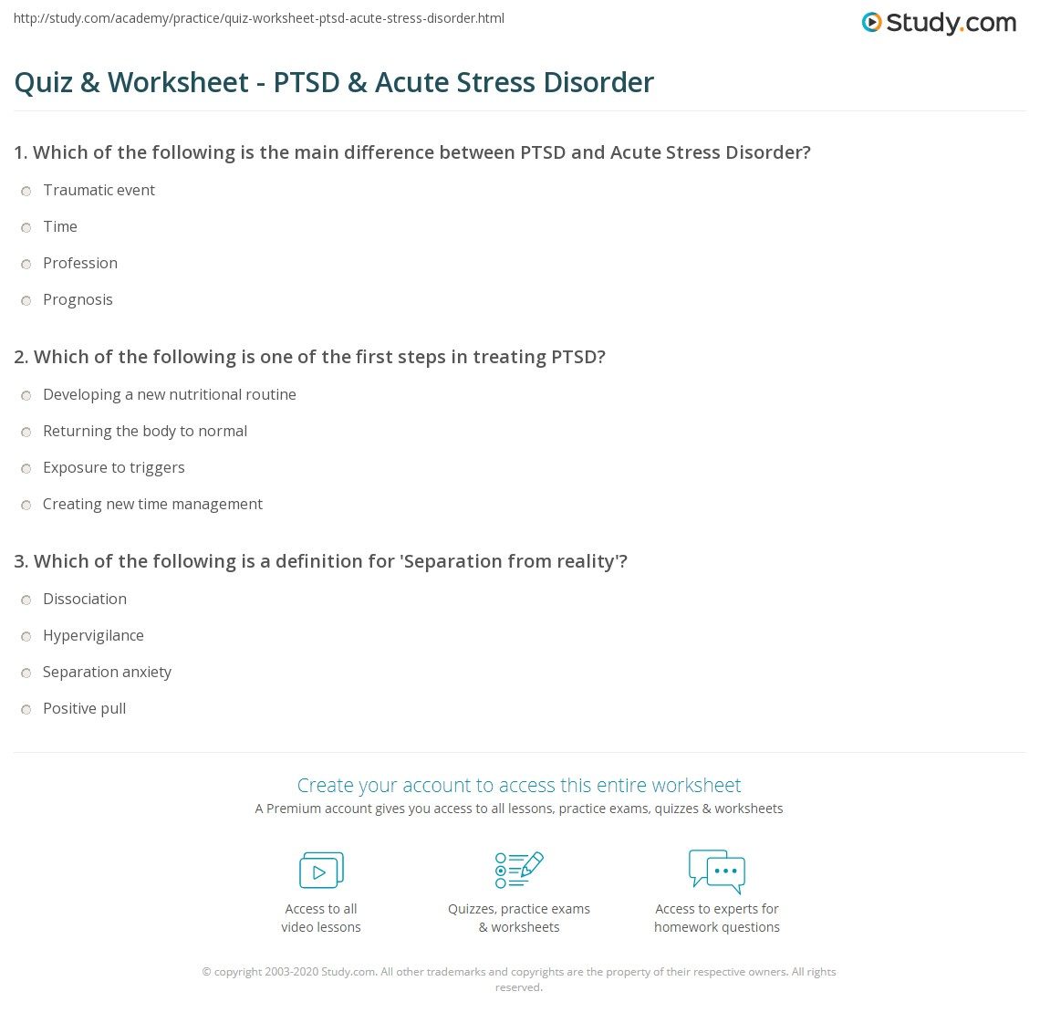 Quiz & Worksheet - PTSD & Acute Stress Disorder | Study.com