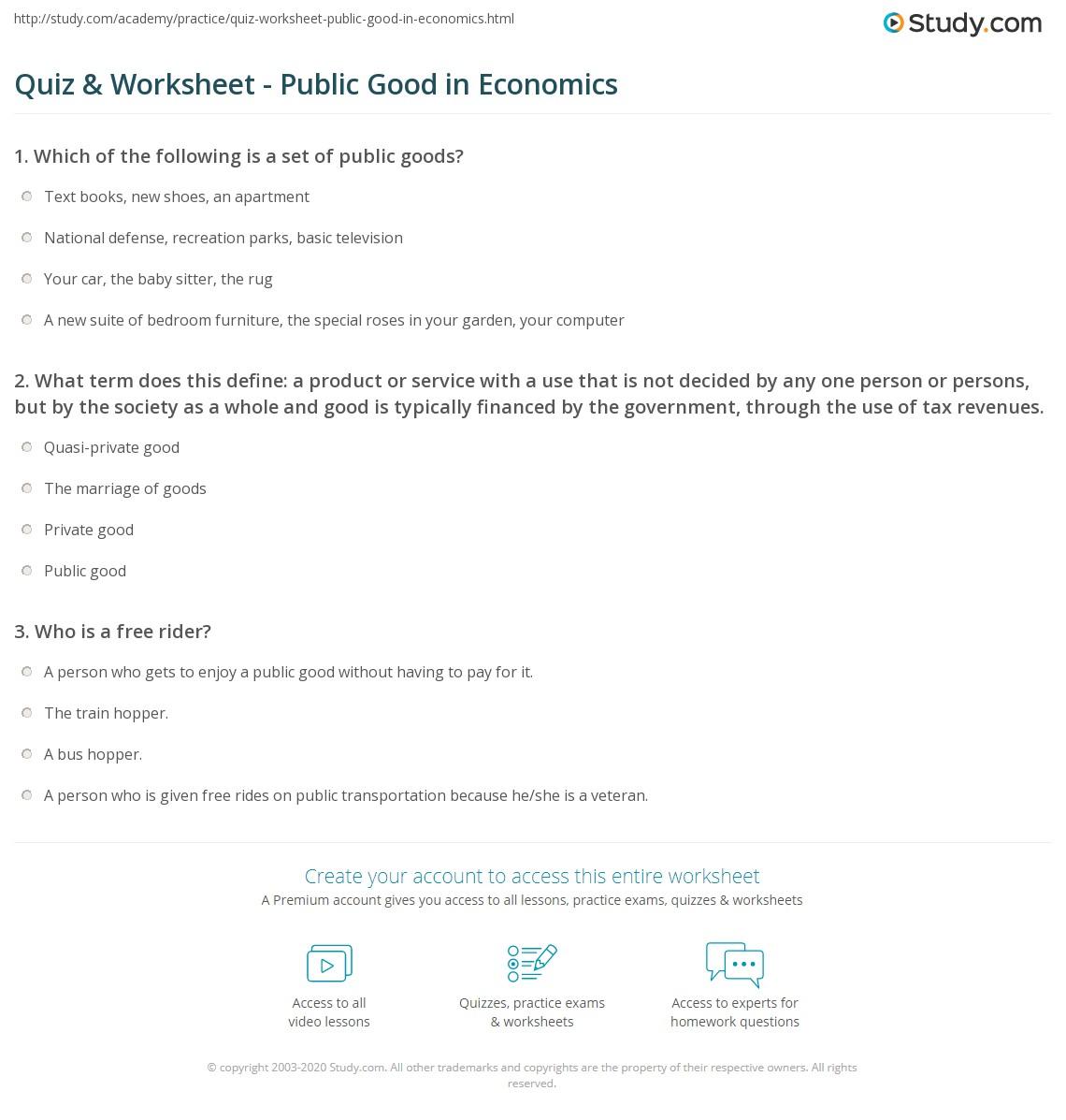 Quiz Worksheet Public Good In Economics Study Com