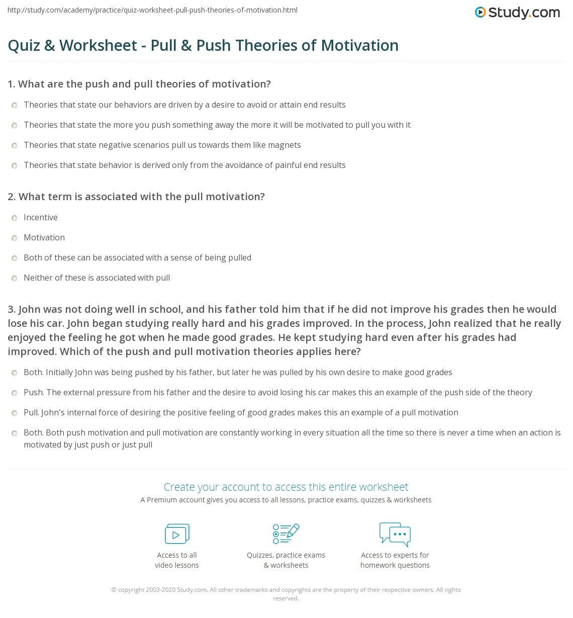 Worksheets Push And Pull Worksheets quiz worksheet pull push theories of motivation study com print worksheet