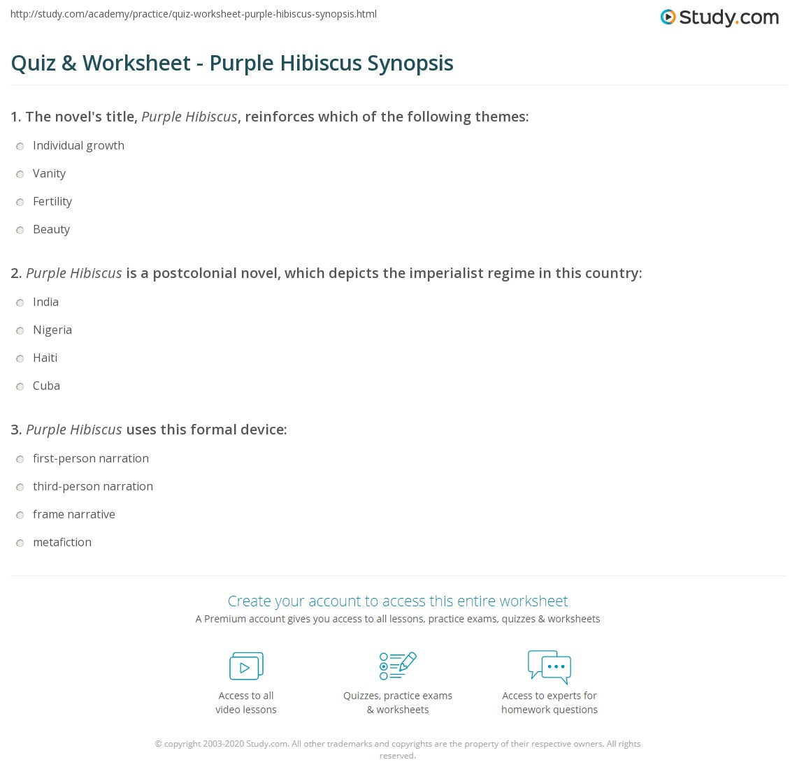 Quiz Worksheet Purple Hibiscus Synopsis Studycom