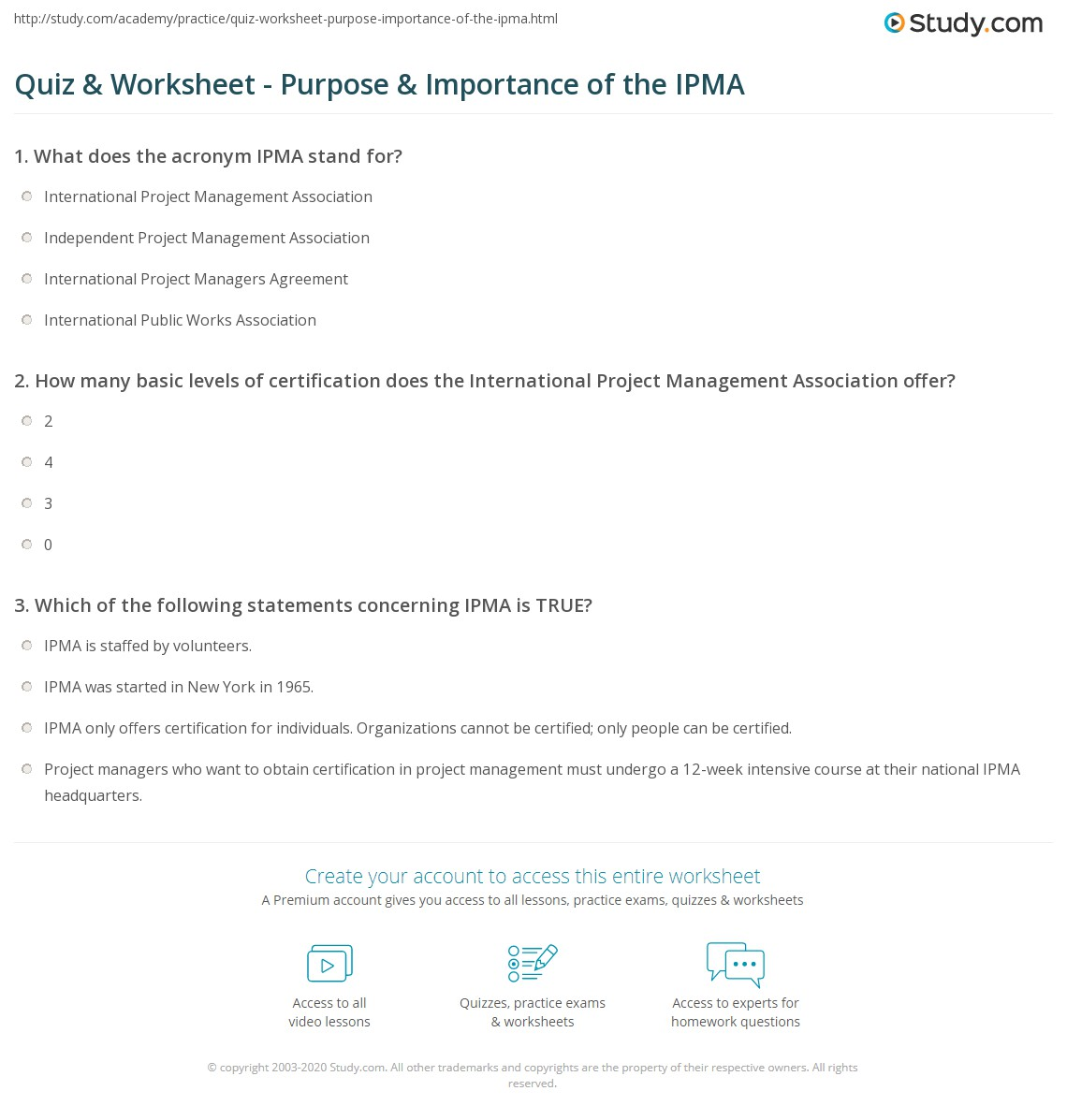 Quiz Worksheet Purpose Importance Of The Ipma Study