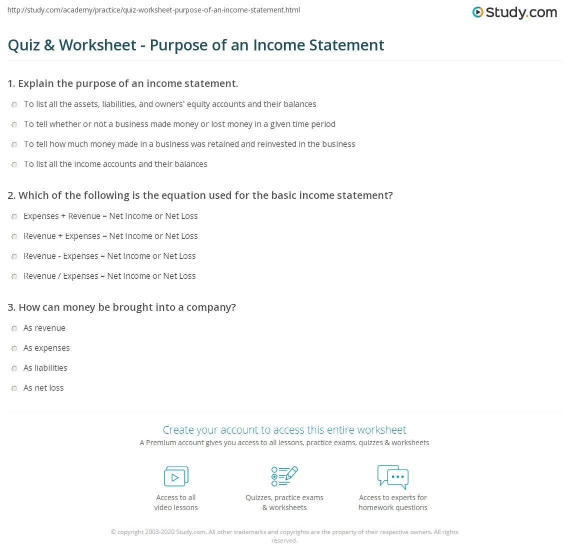 Print What Is An Income Statement?   Purpose, Components U0026 Format Worksheet  Components Of Income Statement