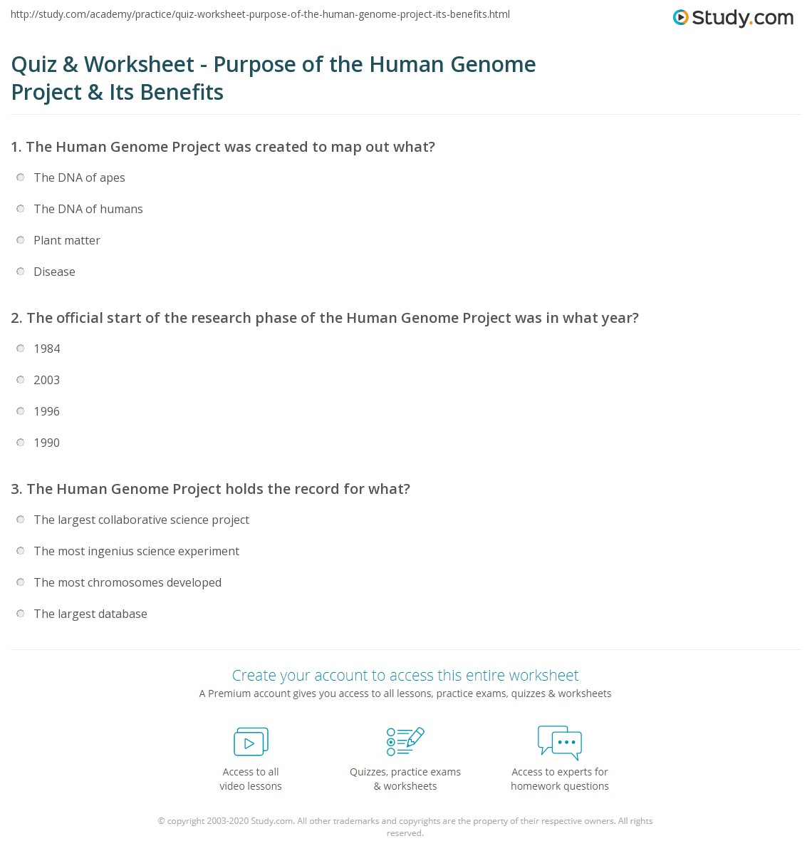 quiz & worksheet - purpose of the human genome project & its