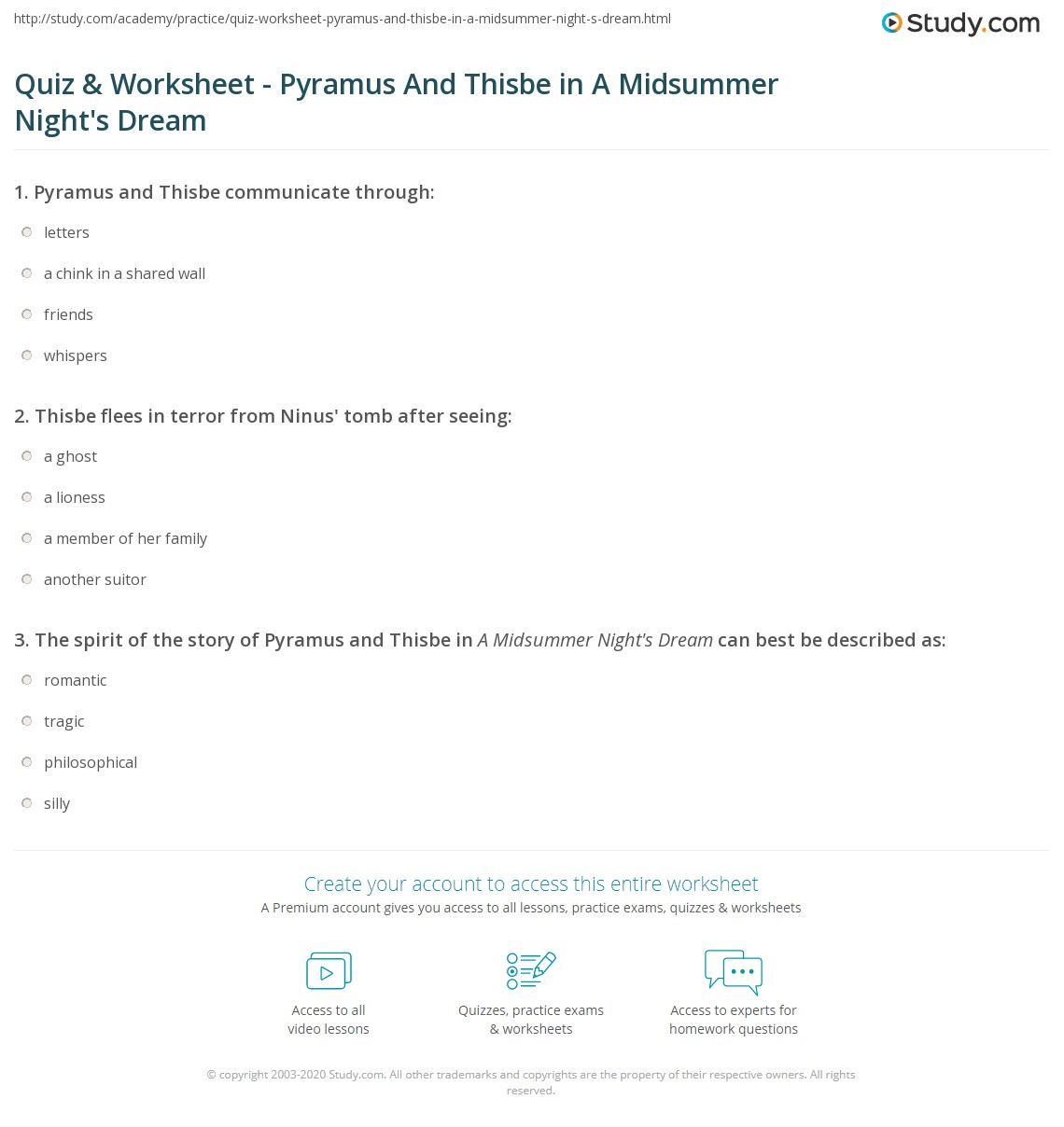 Quiz & Worksheet - Pyramus And Thisbe in A Midsummer Night\'s Dream ...