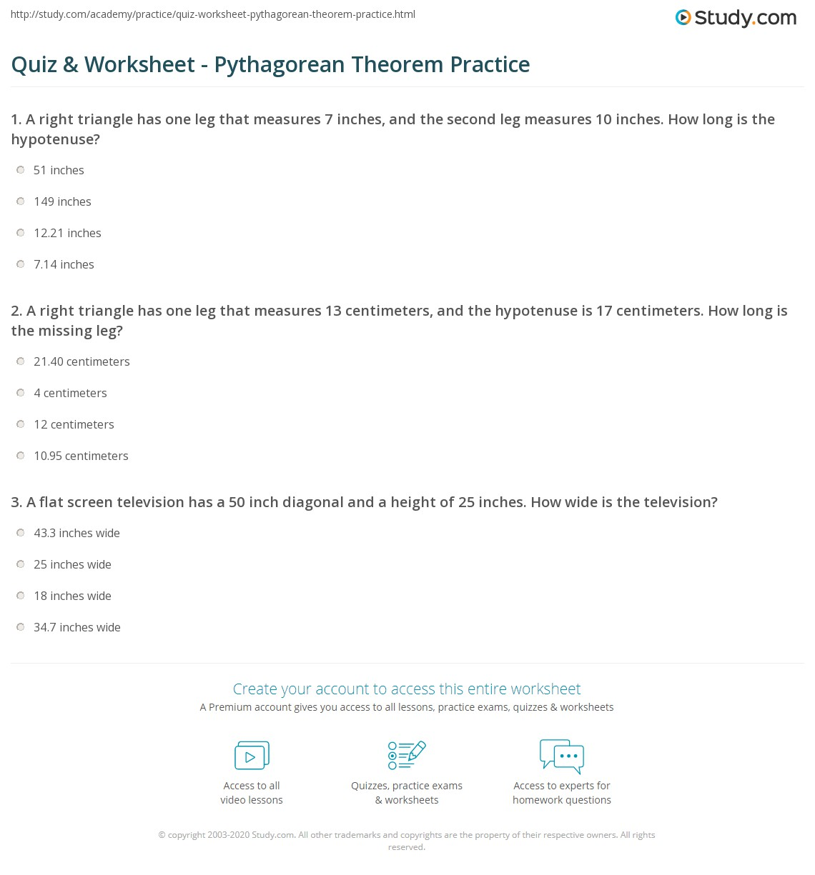 worksheet Pythagorean Theorem Problems Worksheet quiz worksheet pythagorean theorem practice study com print the and application worksheet
