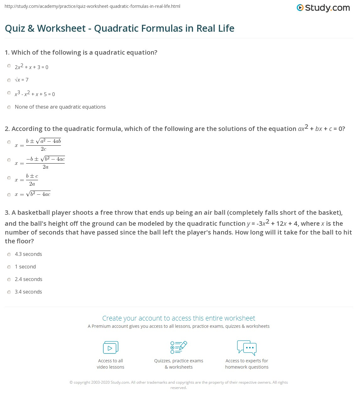 Quiz Worksheet Quadratic Formulas In Real Life Study