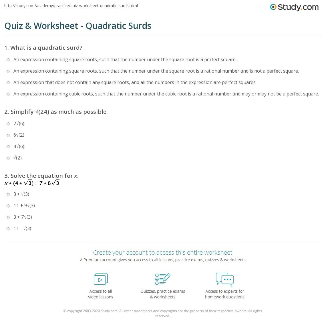 Quiz Worksheet Quadratic Surds Study