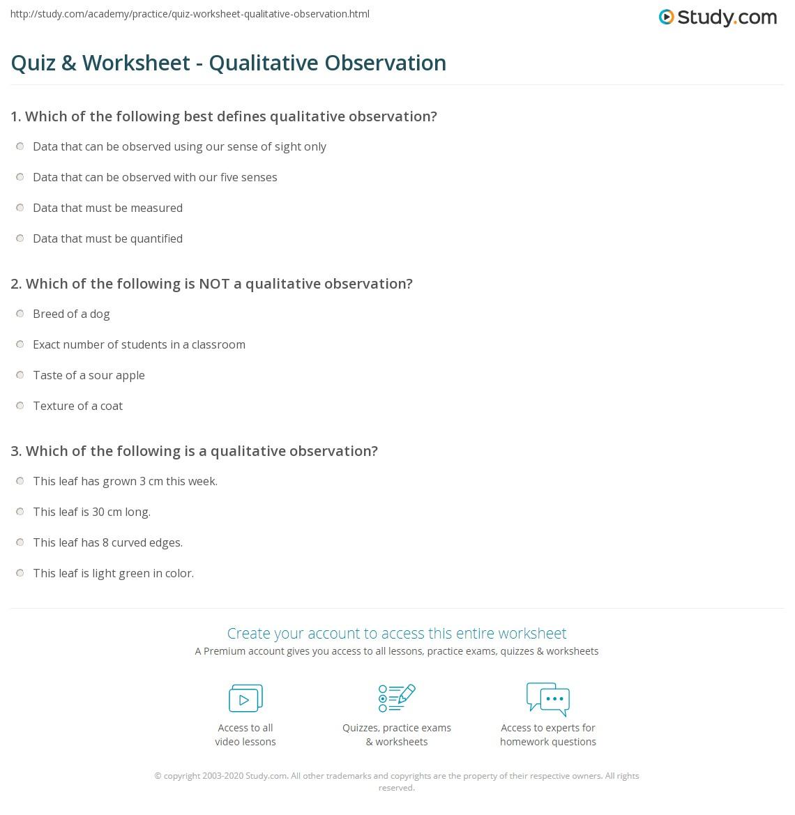 worksheet Observation Worksheet quiz worksheet qualitative observation study com print what is definition example worksheet
