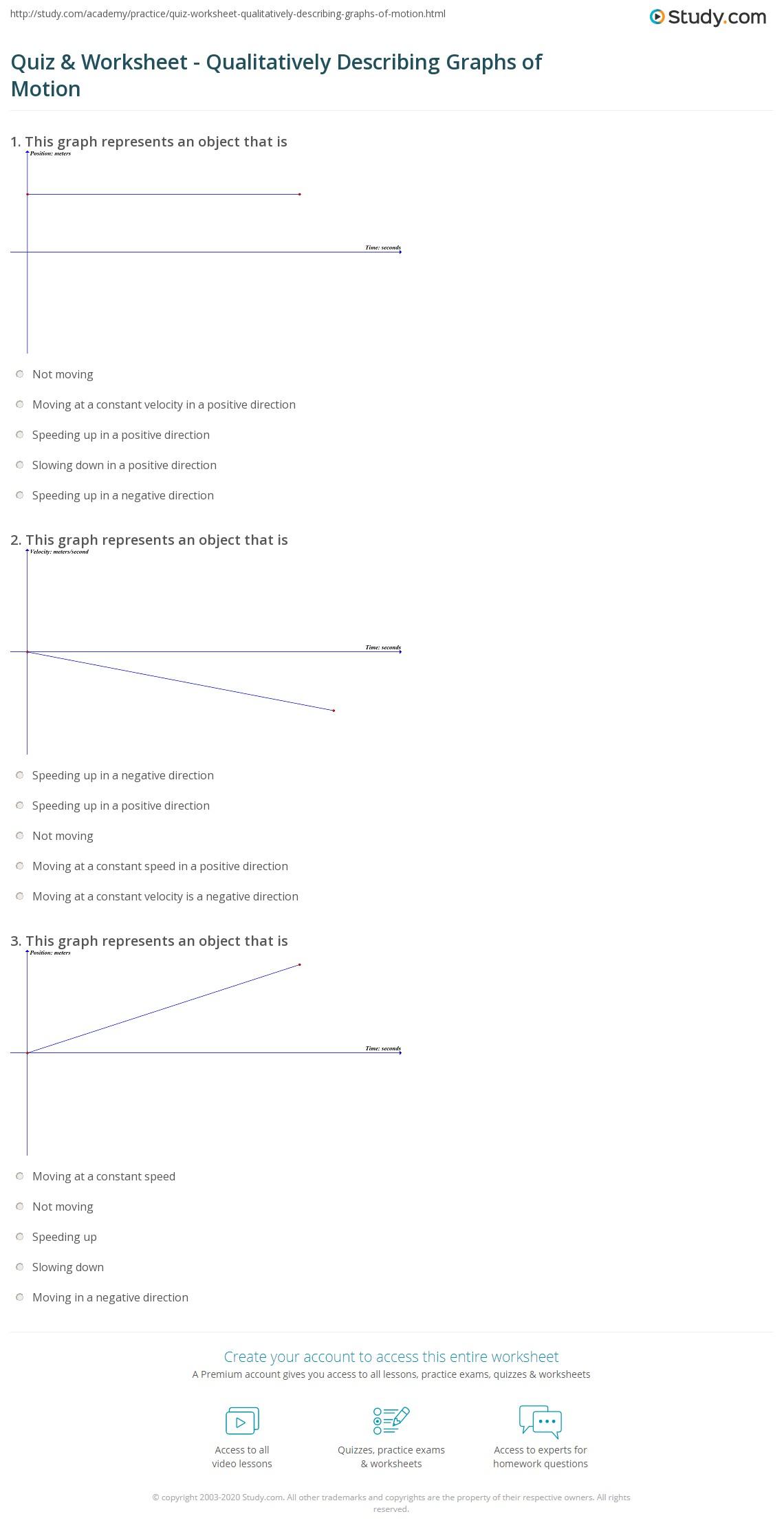 quiz worksheet qualitatively describing graphs of motion. Black Bedroom Furniture Sets. Home Design Ideas