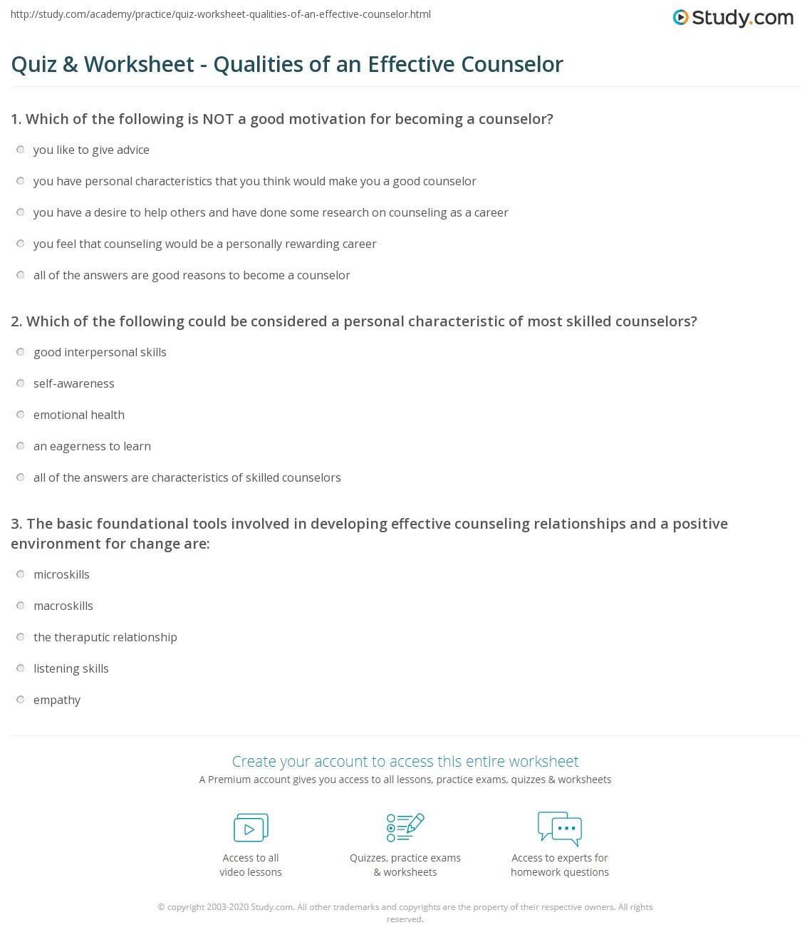 quiz worksheet qualities of an effective counselor com print personal qualities of an effective counselor worksheet