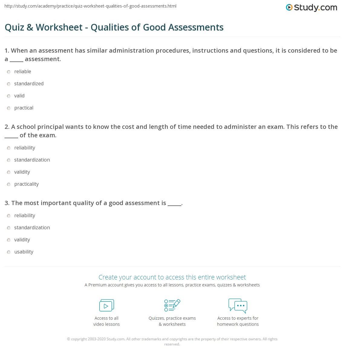 quiz worksheet qualities of good assessments. Black Bedroom Furniture Sets. Home Design Ideas