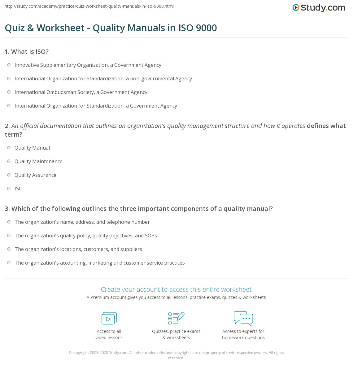 quiz & worksheet - quality manuals in iso 9000 | study