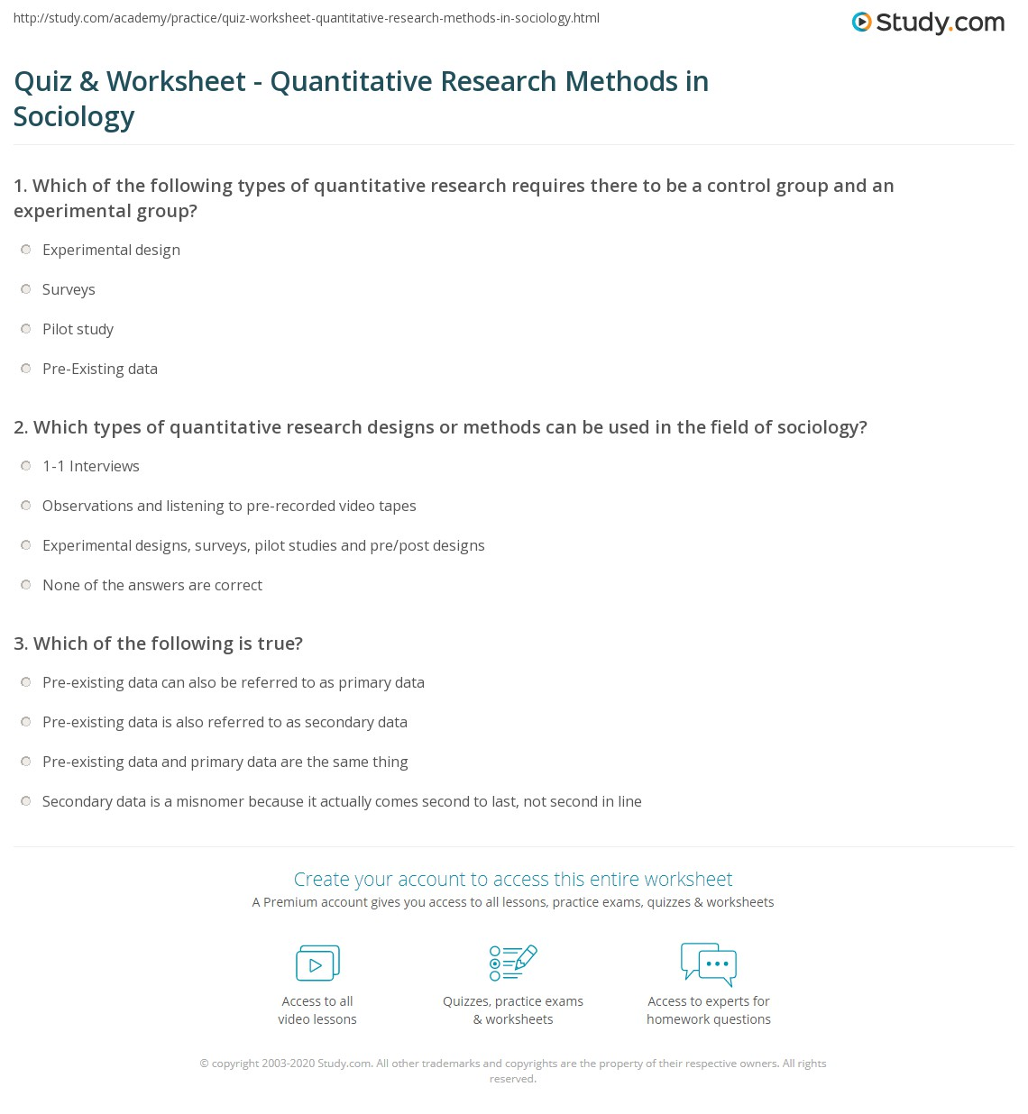 quiz & worksheet - quantitative research methods in sociology