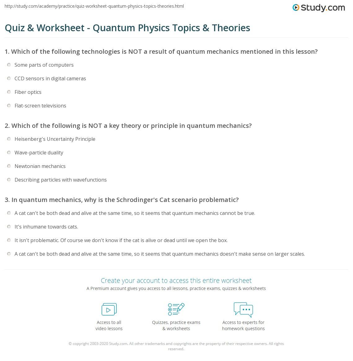 quiz worksheet quantum physics topics theories. Black Bedroom Furniture Sets. Home Design Ideas