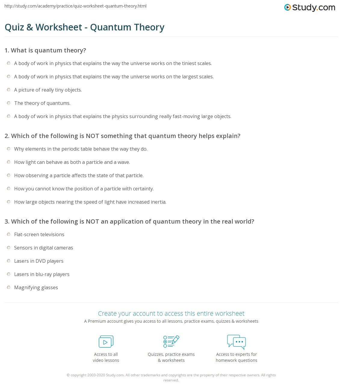 quiz & worksheet - quantum theory | study