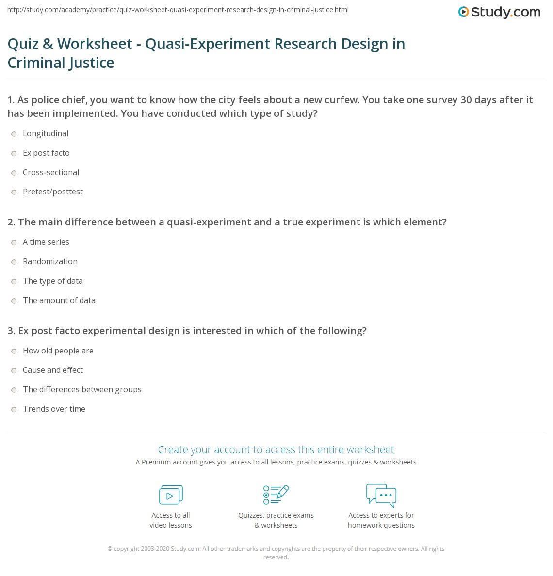 Science Experimental Design Worksheet: Quasi-Experiment Research Design In