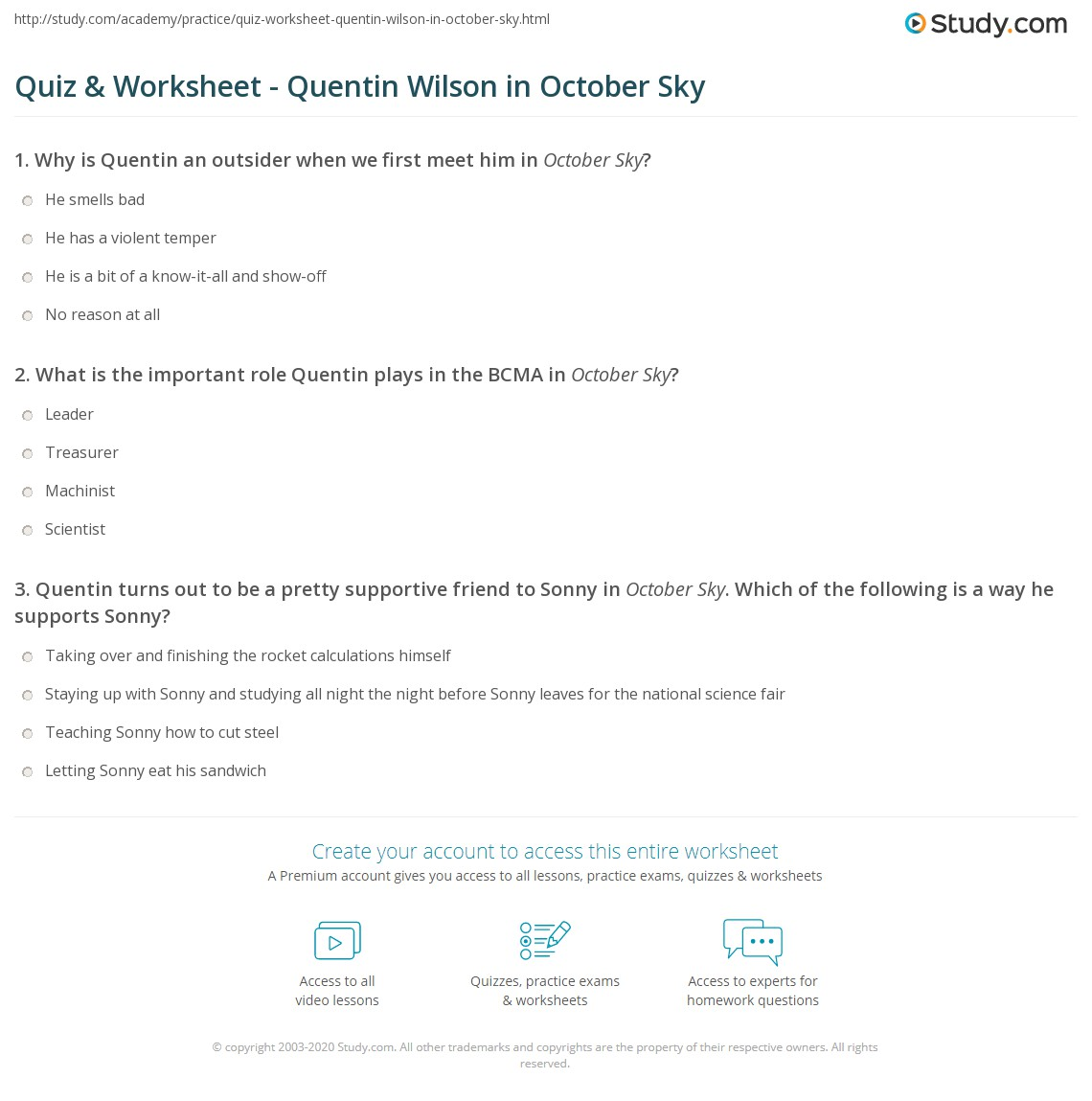 quiz worksheet quentin wilson in october sky. Black Bedroom Furniture Sets. Home Design Ideas