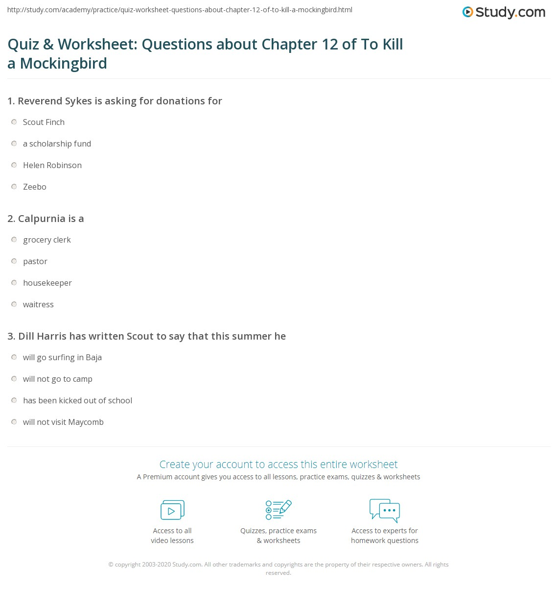 Quiz Worksheet Questions About Chapter 12 Of To Kill A