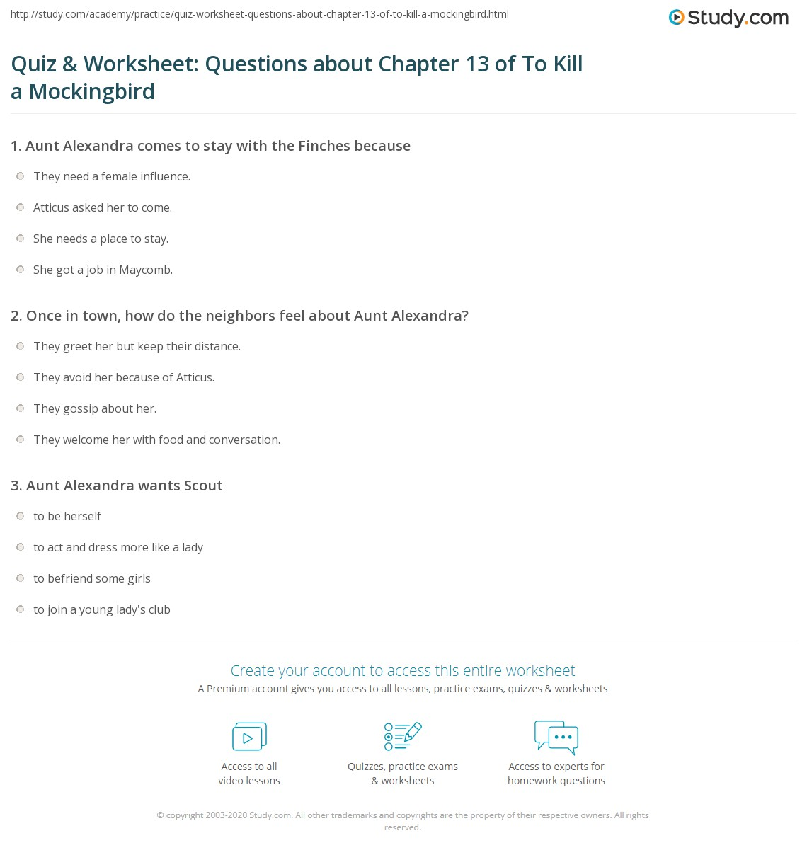 Quiz Worksheet Questions About Chapter 13 Of To Kill A