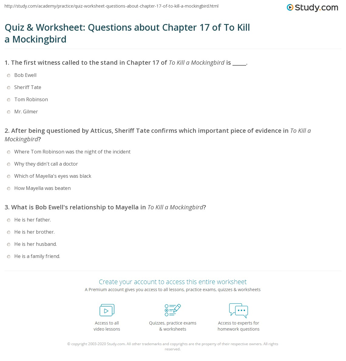 quiz worksheet questions about chapter of to kill a  print to kill a mockingbird chapter 17 summary worksheet
