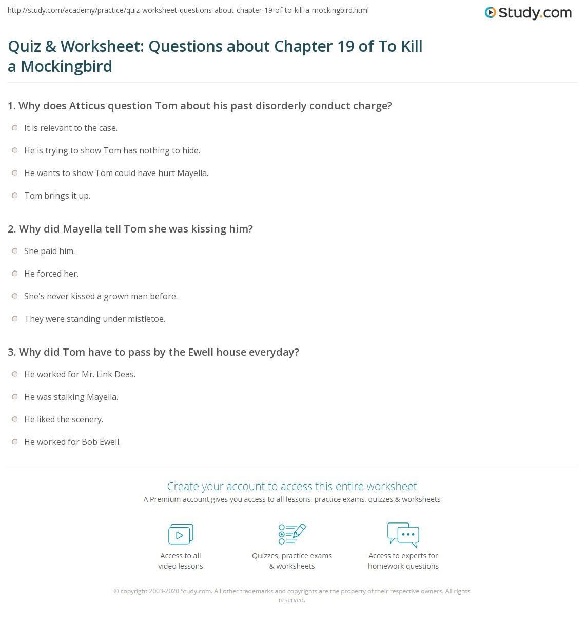 quiz worksheet questions about chapter of to kill a  print to kill a mockingbird chapter 19 summary worksheet