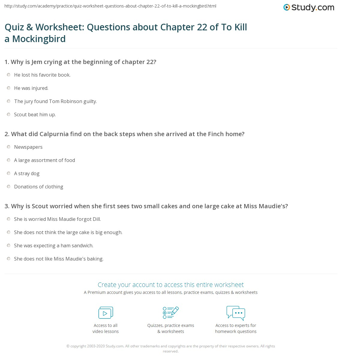 quiz worksheet questions about chapter of to kill a print to kill a mockingbird chapter 22 summary worksheet