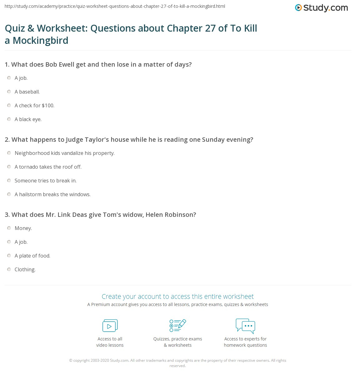 quiz worksheet questions about chapter of to kill a  print to kill a mockingbird chapter 27 summary worksheet