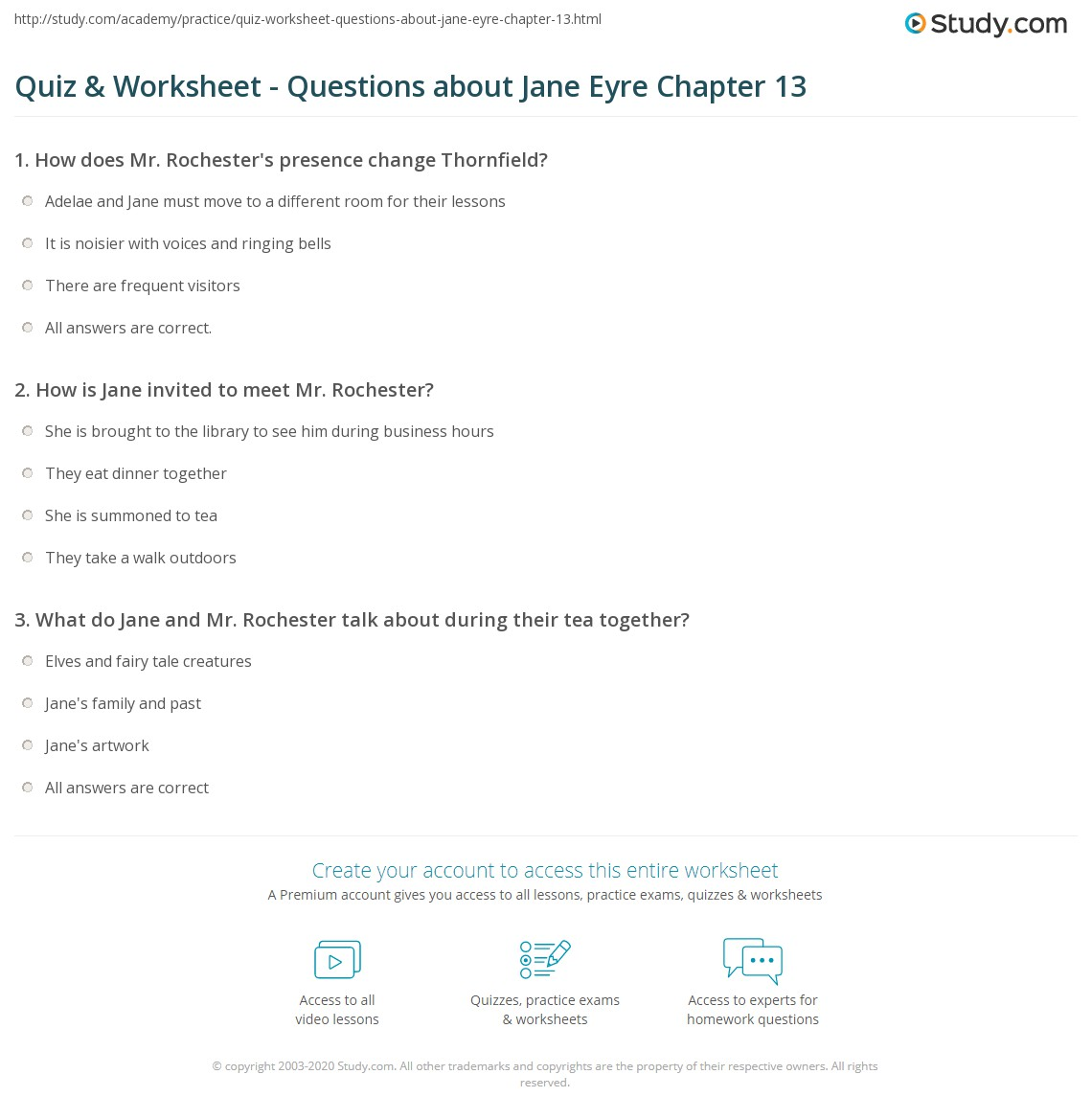 quiz worksheet questions about jane eyre chapter 13 study com rh study com Worksheets with Answer Keys Glencoe Algebra 1 2014