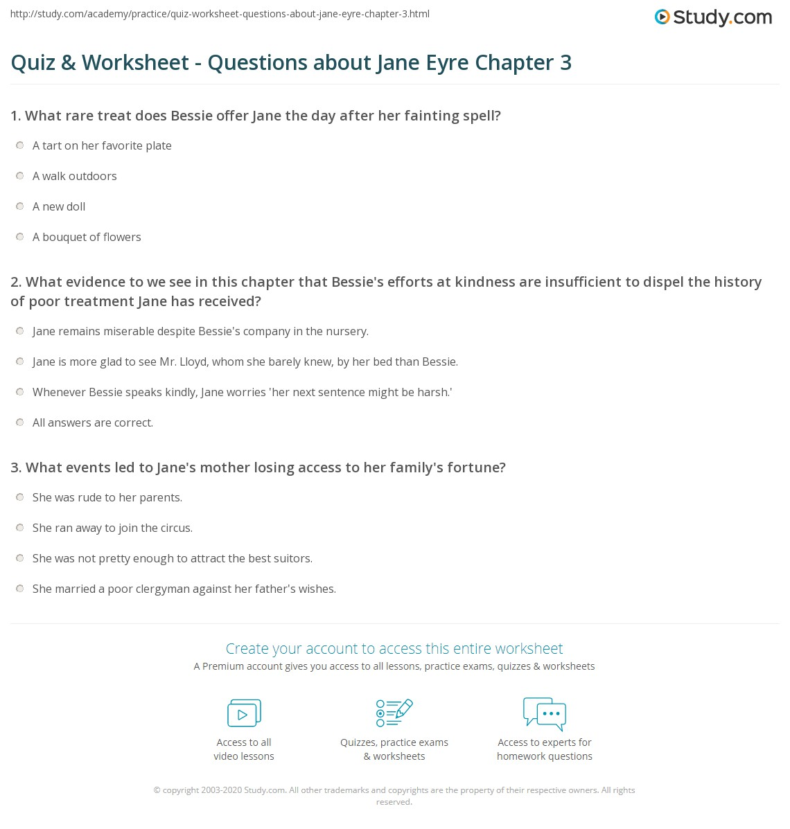 quiz worksheet questions about jane eyre chapter 3 study com rh study com Jane Eyre Movie Poster Jane Eyre Movie