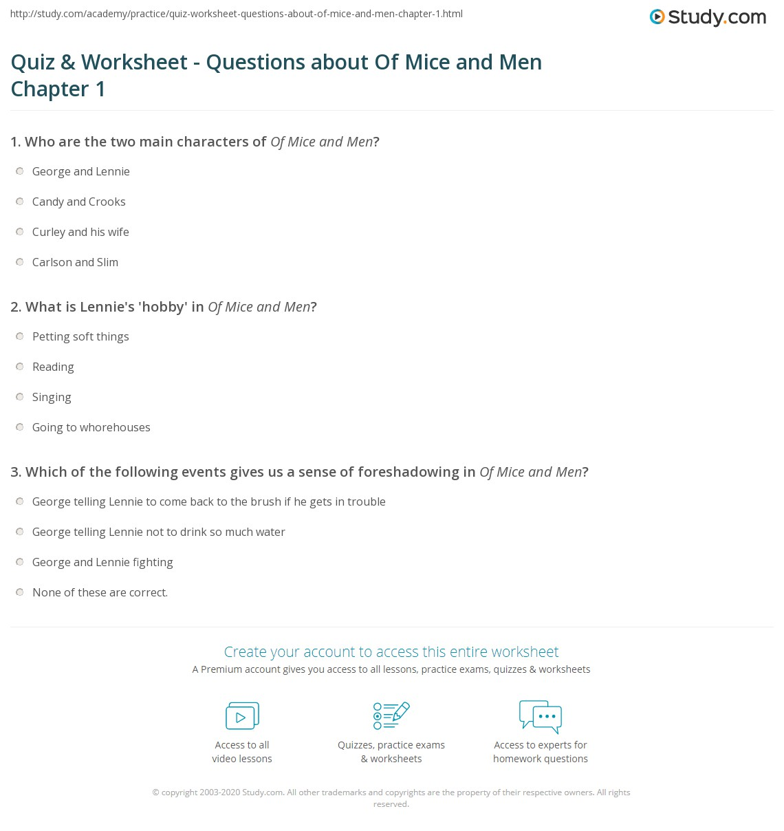 quiz worksheet questions about of mice and men chapter  what is lennie s hobby in of mice and men