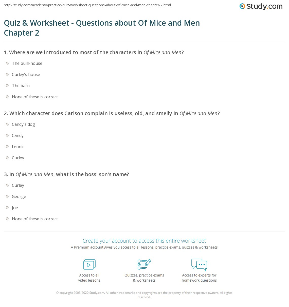 quiz worksheet questions about of mice and men chapter  print of mice and men chapter 2 summary quotes worksheet