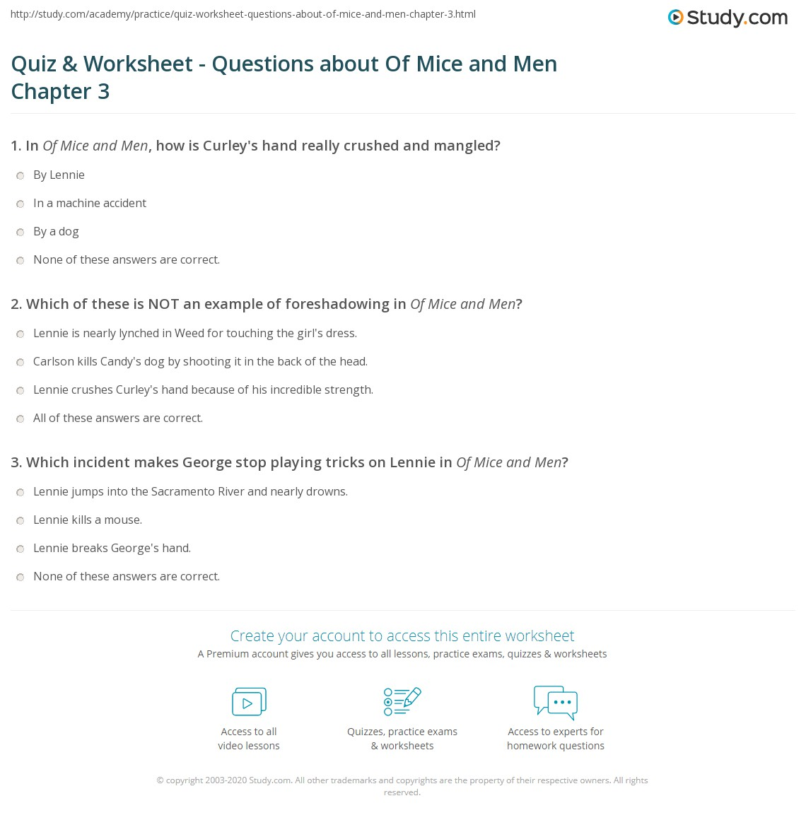 Of Mice And Men Quotes With Page Numbers Quiz & Worksheet  Questions About Of Mice And Men Chapter 3