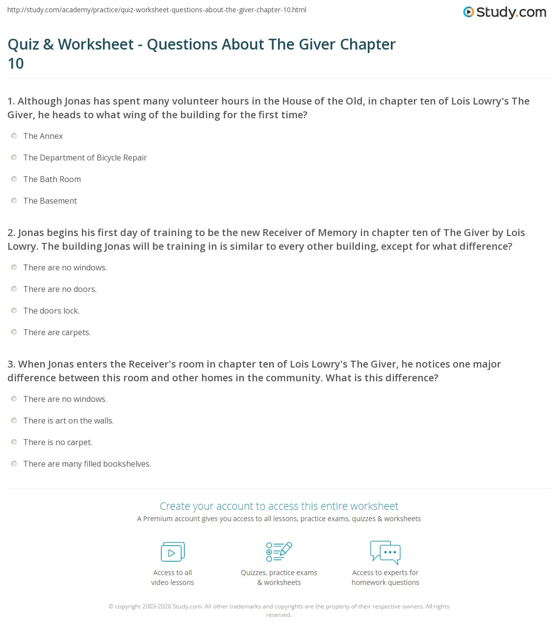 Quiz & Worksheet - Questions About The Giver Chapter 10 | Study.com