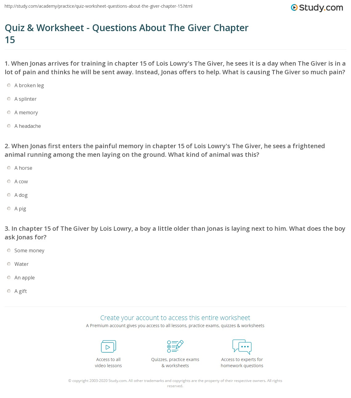 quiz worksheet questions about the giver chapter com when jonas first enters the painful memory in chapter 15 of lois lowry s the giver he sees a frightened animal running among the men laying on the ground