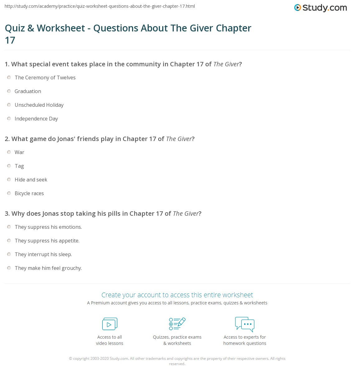 quiz worksheet questions about the giver chapter com print the giver chapter 17 summary quotes worksheet